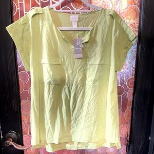 "Chico's Size 2 = Large, NWT knit top, ""wild lime"""